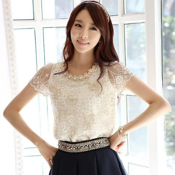 Women's chiffon shirts Short Sleeve Collar Beading Embroidery O-neck Lace blouse Tops Female Clothing J0569