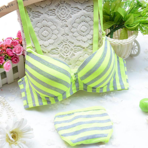 Young girl stripe thin thick double breasted underwear bra set cute sexy green rose orange size AB 70-80 underclothes