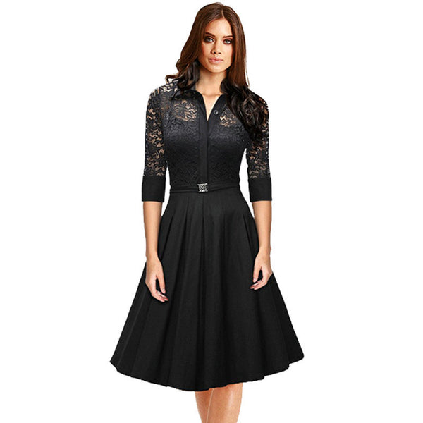 Online discount shop Australia - Audrey Hepburn vintage women Lace Waist Black big swing robe high quality dress Lady rockabilly party dresses