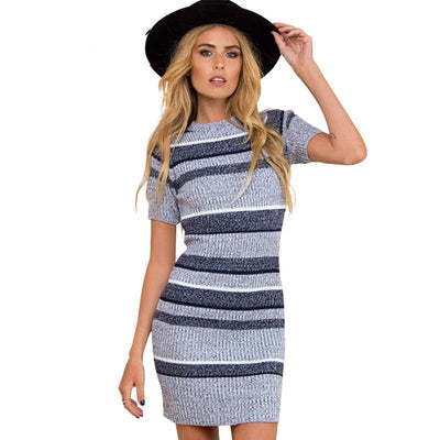 Online discount shop Australia - BerryGo Sexy knitted blue striped bodycon dress Autumn winter short sleeve women dress Elegant evening party sexy dresses