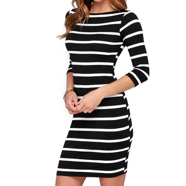 Online discount shop Australia - Dresses Autumn Women Sexy Slimming Wrap Lady Fashion Clothing Casual Striped Bodycon Party Dress Vestidos