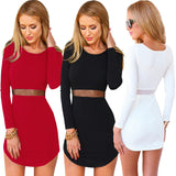Online discount shop Australia - female long sleeve o-neck dress / Women solid color Slim above knee Mini dress