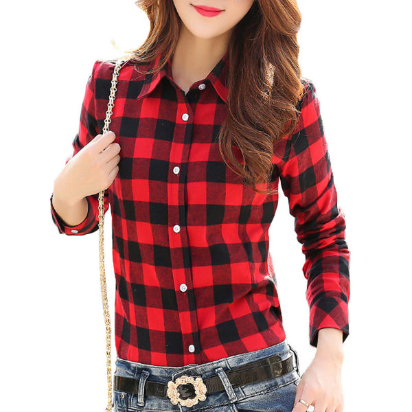 New Fashion Women Blouses Long Sleeve Turn-down Collar Plaid Shirts Women Casual Cotton Shirt Style
