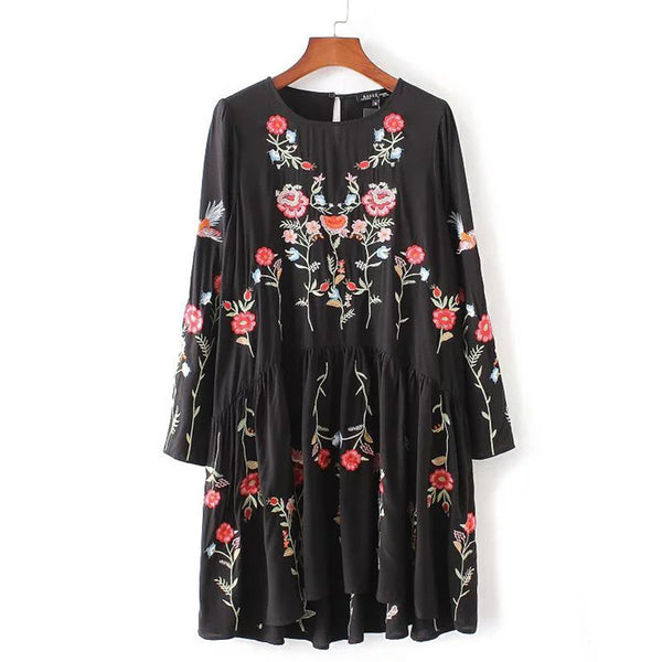 Online discount shop Australia - Autumn Fashion Brand Floral Embroidered Dress Women Round Neck Long Sleeve Vintage Black Dress Vestidos AAZZ8304