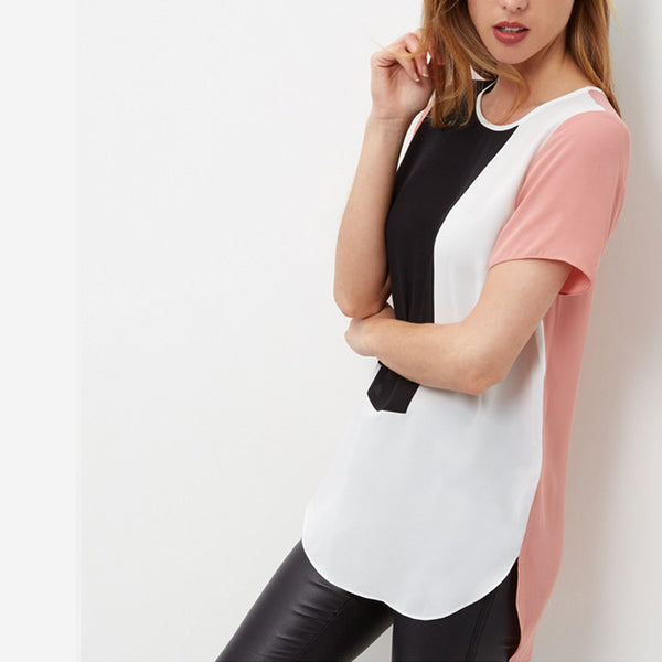 Online discount shop Australia - Loose Casual Long For Women Patchwork Chiffon Blouse XXXXL 5XL Tops Shirt