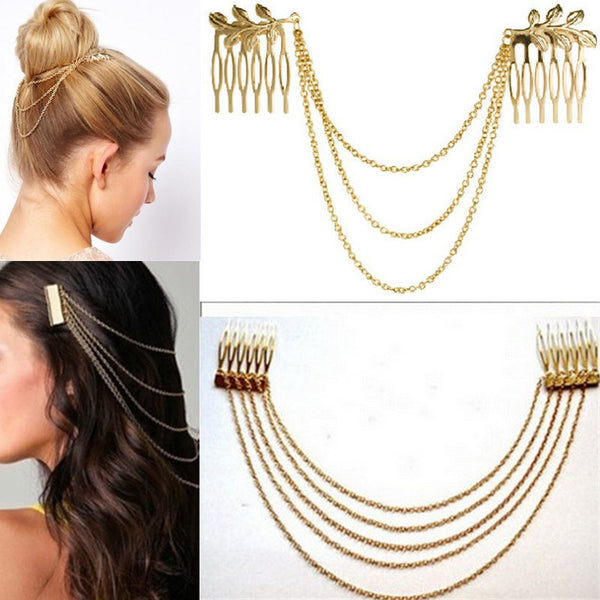 Online discount shop Australia - Metal Tassel Chain Headband Women Hair Accessories Clip Hair Comb Bridal Ladies Leaf Headwear
