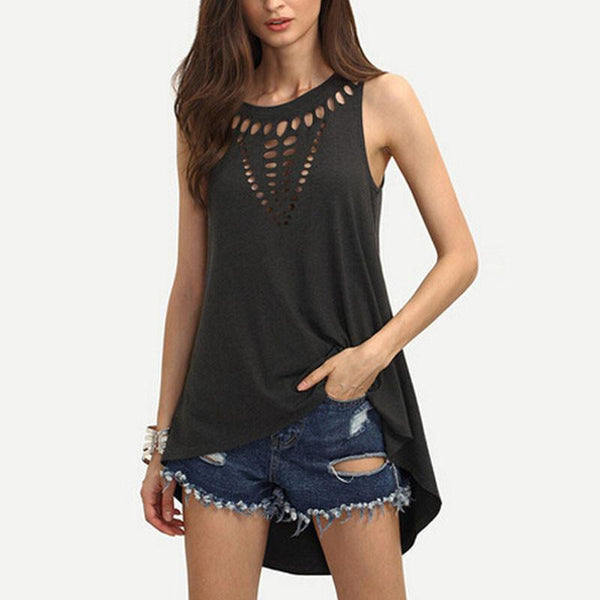 Style Sexy Women Sleeveless Hollow Out Blouses Casual Vest Loose Blouse O Neck Tank Tops Plus Size