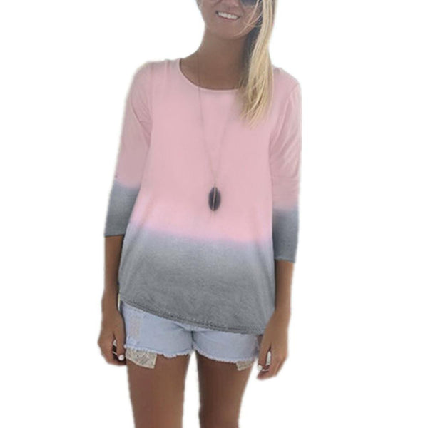 T-Shirt Women Long Sleeve O-neck Cotton Tops Tee Casual Loose Gradient Color T shirts