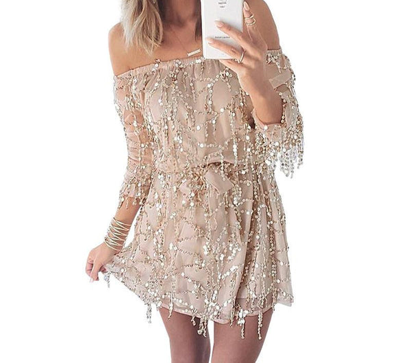 Online discount shop Australia - BerryGo Sexy off shoulder sequin tassel summer dress beach party short dress Women backless long sleeve vintage dress vestidos
