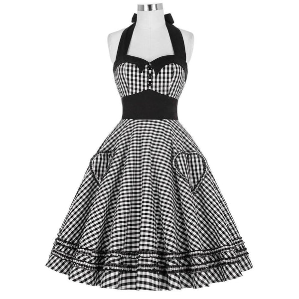 Women Dress Plus Size Summer Clothing Retro Swing Short Gown robe Pin up Plaid Vintage 60s 50s Rockabilly Dresses vestidos
