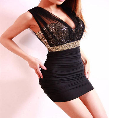 Women Bodycon bandage dress Ladies Sleeveless Party Dress Sequin Empire Waist See-through Mesh