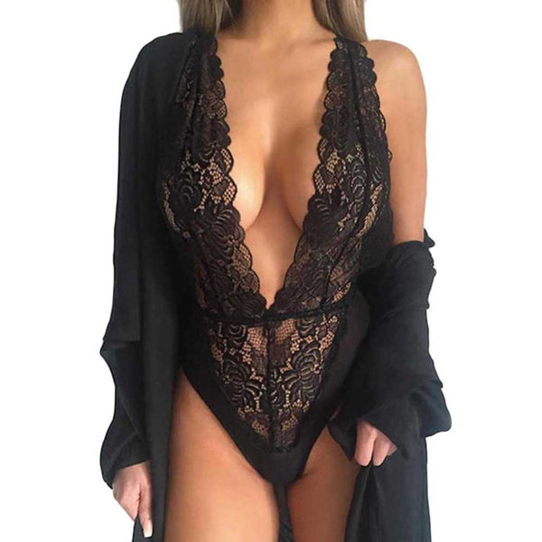 New Women Sexy Deep V Neck Lace Lingerie Sleepwear Dress Underwear Babydoll Nightgown Black nightdress
