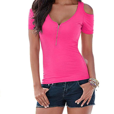 Women Ladies Slim Zip V Neck Off Shoulder T Shirts Casual Cotton Tee Shirt Tops