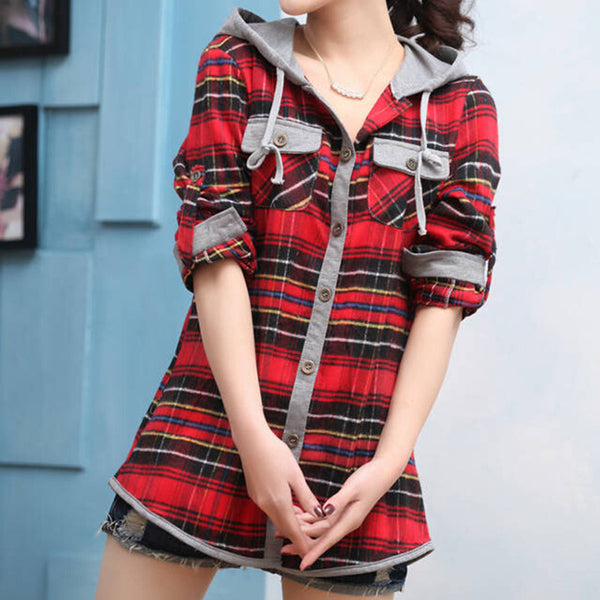 Online discount shop Australia - Fashion Long Sleeved Casual Hoodies Slim OL Plaid Blouses Shirts For Women Suit Sweatshirts