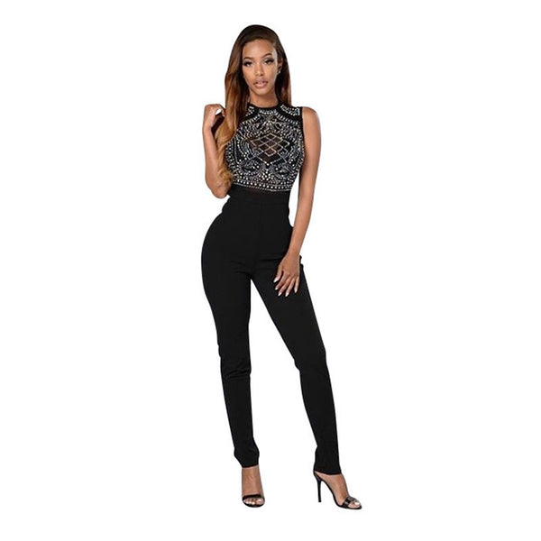 Online discount shop Australia - Fashion Rompers Womens Jumpsuit Sleeveless Long Bodysuit Black Sexy Club Wear Elegant Jumpsuit