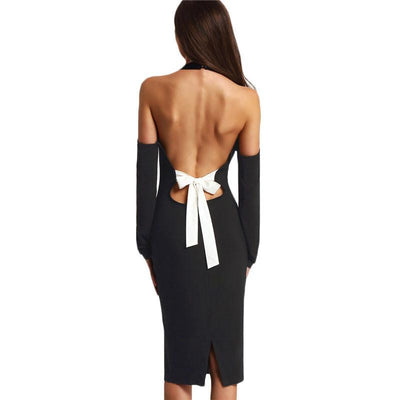 Summer Black Off The Shoulder Bow Open Back Long Sleeve Patchwork Bow Halter Long Sleeve Pencil Dress