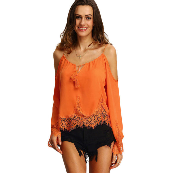 Online discount shop Australia - Clothes For Women New Tops Womens Orange Cold Shoulder Long Flare Sleeve Lace Trim Beach Blouse