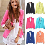Women's Basic Suits Candy Color Casual Slim Foldable Sleeve Ladies One Button Jackets Cardigan Coats 6 Colors