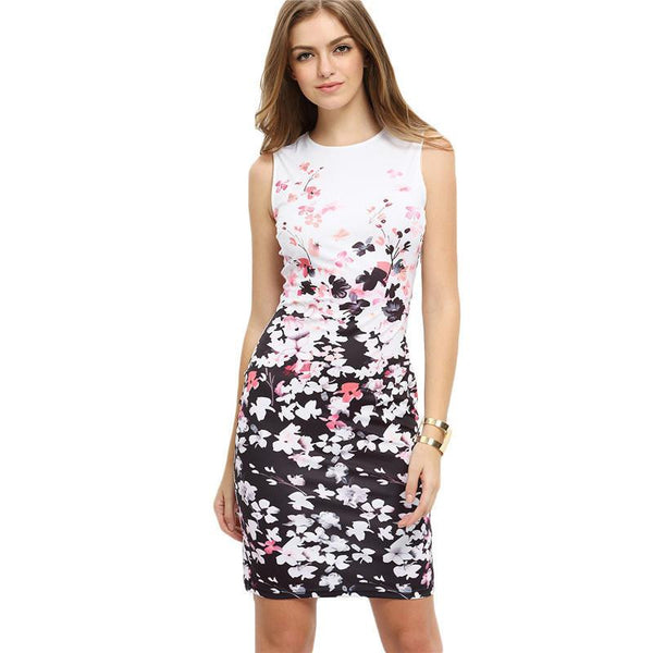 Woman Dresses Fashion Work Wear Summer Multicolor Round Neck Sleeveless Flower Print Bodycon Dress
