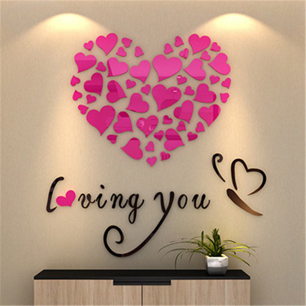 c7cf7db3da Love Acrylic Creative 3D Wall Stickers DIY 40cm Bedroom Living Room TV  Background Wall Decoration