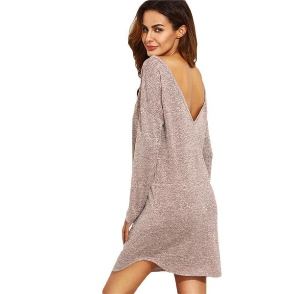 SheIn Casual Short Dresses For Woman Arrival Autumn Ladies Dark Pink Round Neck V Back Long Sleeve Shift Dress