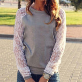 Online discount shop Australia - Lace Blouse Shirt female Long Sleeve Blouse Shirt Blouse Shirt Tops Solid O Neck Casual clothing