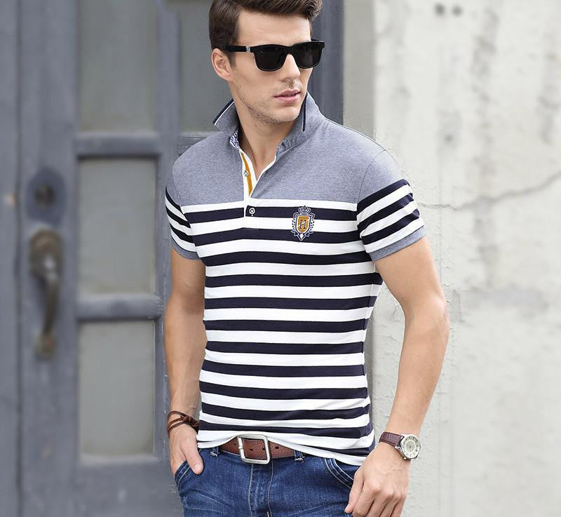 Short Sleeve Mens Polos Homme Turn Down Collar Tops Cotton Brand Men Grey Striped xxxl Plain Solid Clothing918 blueLa