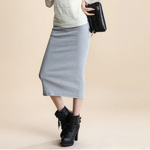 Online discount shop Australia - A Little Thick Sexy Chic Pencil Skirts Office Look Natural Waist Mid-Calf Solid Skirt Casual Slim Hip Placketing