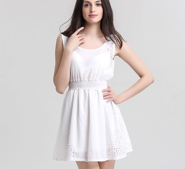Online discount shop Australia - BEFORW Brand New Sexy Womens Dresses Slim Sleeveless Hollow White Women Summer Dress Lady Chiffon Dresses Vestidos Casual