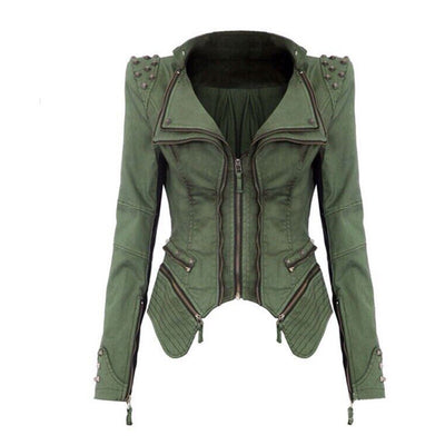 Online discount shop Australia - Fashion Slim shoulder rivets zipper jacket coat FT1385
