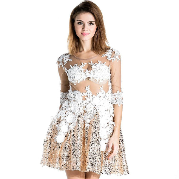 Slim sexy lace stitching gauze sequins see througth dress FT1673