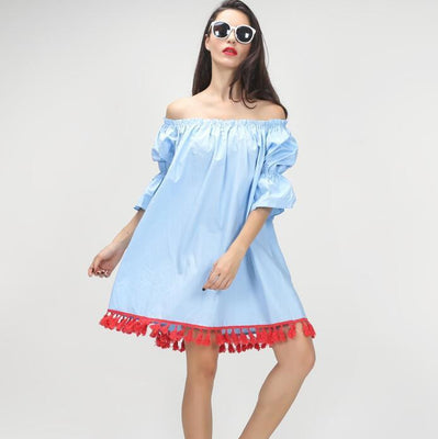 Slash Neck Flare Sleeves Splicing Tassles Hem Loose Dresses Women Bohemian Style