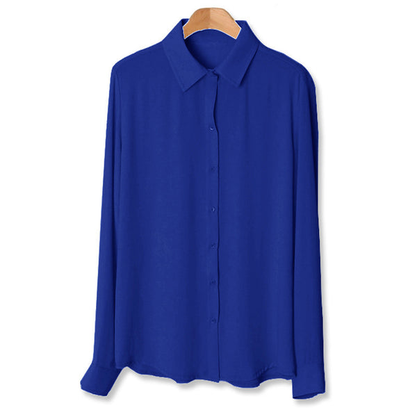 Online discount shop Australia - Fashion Basic Chiffon Tops Shirt Women Vintage Clothing Casual Loose Office Blouse 5XL