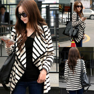 New Casual Fashion Women Long Sleeve Striped Tops Cardigan Blouse Jacket