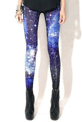 Online discount shop Australia - Fashion Woman Leggings Space Printed Pants Plus Size XL