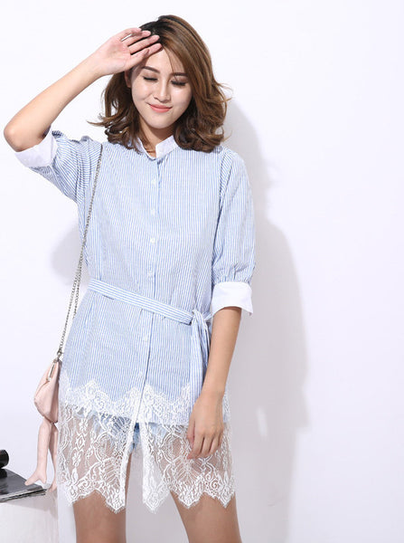 Original Lace Spliced With Sash Lace Up Loose Shirts Button Up Women Striped Dress Refresh Summer New