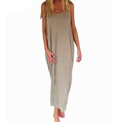 Women Fashion Casual Loose Solid Dress Sleeveless Backless Long Maxi Beach Dresses Plus Size