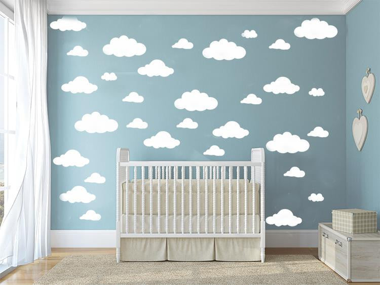 31pcs/set DIY Big Clouds 4-10 inch Wall Sticker Removable Wall Decals Vinyl Kids Room Decor Art Home Decoration Mural KW-132whitea