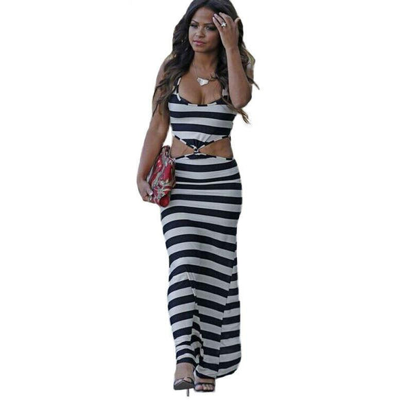 Summer Dress Floor Length Maxi Women Dress Black White Striped Two Piece Set Sleeveless Elegant Sexy Lady Casual Long Dress