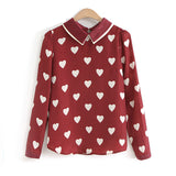 New Fashion Womens Red Heart Shirts Print Casual Long Sleeve Blouses For Ladies Tops