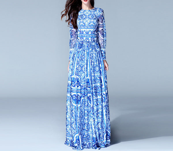 Online discount shop Australia - HIGH QUALITY New Fashion Women's Long Sleeve Vintage Blue And White Print Dress Brand Maxi Dress