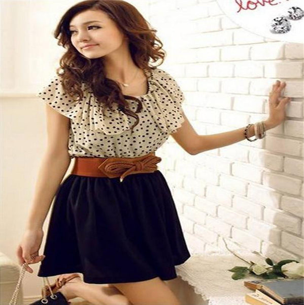 Women Dress Without Belt Short Sleeve Chiffon Dots Polka Waist Mini Dress
