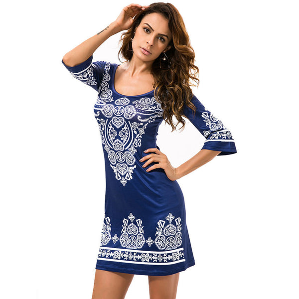 Online discount shop Australia - New Arrival Quality Europe And American Style Casual Print Fashion Elastic Sheath Women Summer Mini Dress Plus Size