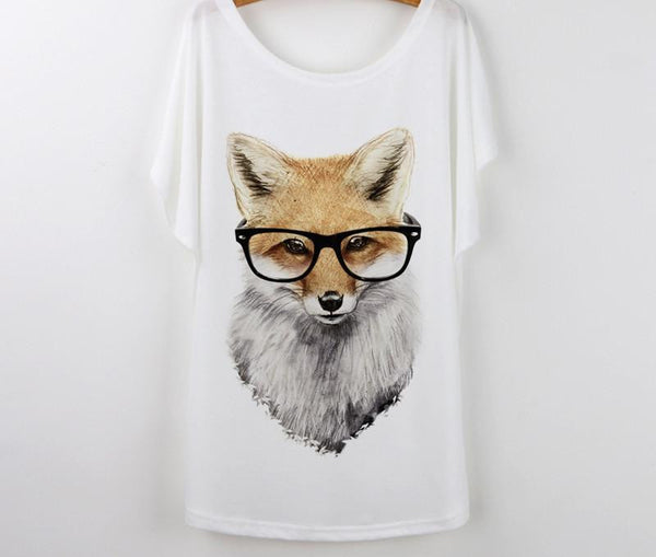 Tops Animal T-Shirts For Women Clothing Cute Fox Short Sleeve White T Shirt Tee Shirt