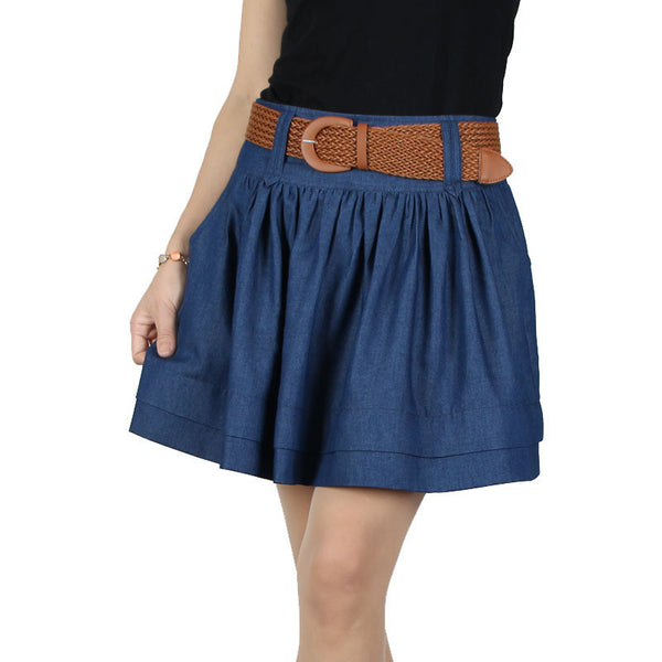 Online discount shop Australia - Fashion New Women High Quality Thin Loose Large Size Denim Skirt Bust Models cotton denim Skirt Free Belt