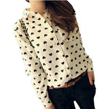 Online discount shop Australia - Fashion Vintage Women's Shirt Chiffon Blouse Love Heart Sweet Black Women Long Sleeve Tops S M L