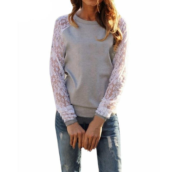 Women Lace Blouse Casual Crochet Patchwork Long Sleeve Slim Shirts Tops Plus Size   S-XXXL