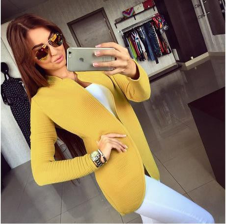Casual Basic Jackets Full Sleeve Outwear Solid Open Stitch Coats Women Jacket Clothing