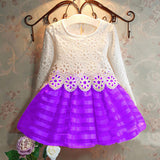 Online discount shop Australia - 3-8Y Toddler Baby Girls Kids Tutu Crochet Lace Dress Long Sleeve Princess Dress Girls Clothes 3COLORS