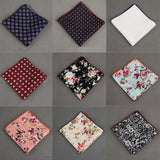 Vintage Cotton+Polyester Handkerchief Floral Printed Pocket Square Wedding 23cm*23cm Hankies For Men Brand Pocket Towel